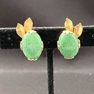 Vintage gold filled jade stone clip earrings